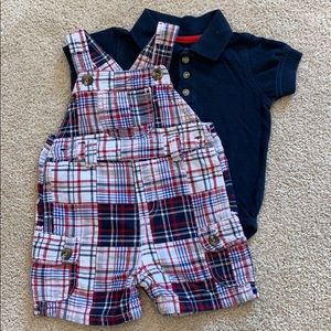 Gymboree Red, White, and Blue Overalls